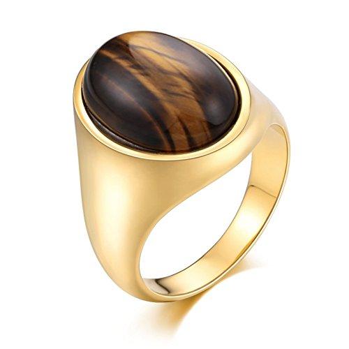 Edelstahl für Männer mit Oval Opal Breite 21 MM Partnerringe Retro Ring Herren Gold Gr. 54 (17.2) (Einfach Assassins Creed Kostüm)