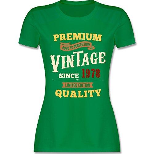 Shirtracer Geburtstag - 40. Geburtstag Vintage 1978 - Damen T-Shirt Rundhals Grün