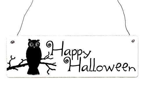 Shabby Vintage Schild Türschild HAPPY HALLOWEEN [*1*Eule] Holzschild Herbst Gothic