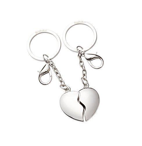 Brubaker portachiavi a semicuore spezzato- per coppie - idea regalo per innamorati