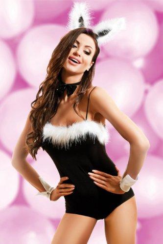 Dessous Hasen Bunny-Kostüm Body Kaneval Mottoparty Fasching Reizwäsche Clubwear, (Dessous Sexy Bunny Kostüme Damen)