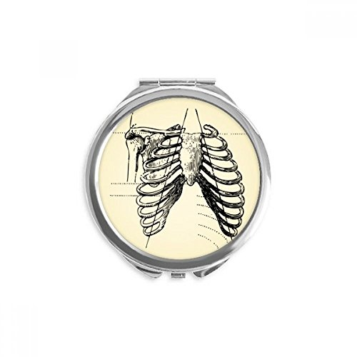 DIYthinker Rib Knochen Menschliches Skelett Skizze Spiegel Runder bewegliche Handtasche Make-up 2.6 Zoll x 2.4 Zoll x 0.3 Zoll Mehrfarbig