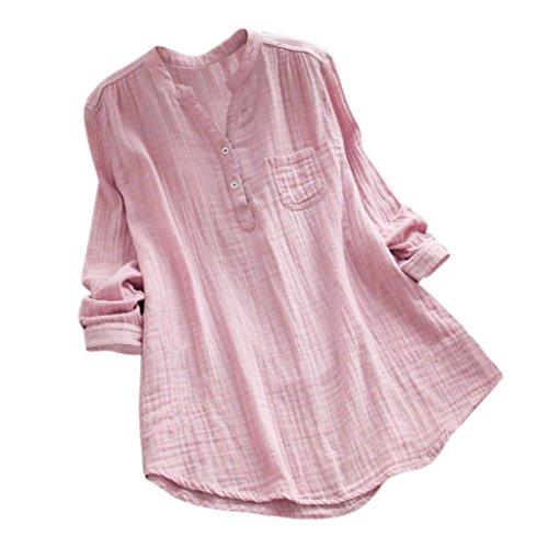 JURTEE Damen Sommer Stehkragen Langarm Beiläufig Lose Tunika Tops T Shirt Bluse Oberteile(Rosa,XXXX-Large)