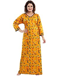 688053be36 TUCUTE® Girls Women s Beautiful Print Cotton Fabric Long Sleeves Nighty  Nightwear Nightgown