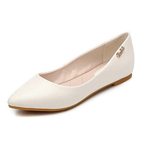 VogueZone009 Damen Eingelegt Ziehen Auf Weiches Material Spitz Zehe Flache Schuhe Cremefarben
