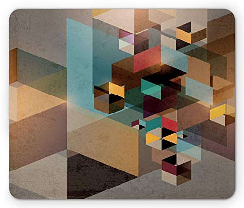 Abstrakte Mausunterlage, Bunte Struktur in den Stücken modernes dynamisches Grafikdesign industriell künstlerisch, Standardgrößen-Rechteck-rutschfestes Gummi-Mousepad, Mehrfarben (Stück Maus Sexy 3)