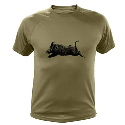 Jagd T Shirt, Jagd Geschenke, Wildschwein (305, Grun, M)