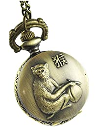 TOOGOO(R) 3D Embossed Lovely Monkey Bronze Small Pocket Watch