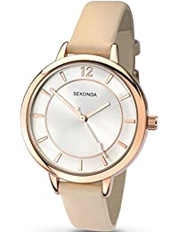 Sekonda Women's Quartz Watch with Silver Dial Analogue Display and Beige PU Strap 2137.27