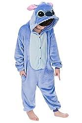 """Dolamen Kinder Unisex Jumpsuits, Kostüm Tier Onesie Nachthemd Schlafanzug Kapuzenpullover Nachtwäsche Cosplay Kigurum Fastnachtskostuem Weihnachten Halloween (Höhe 100-110CM (39 """"-43""""), Stitch)"""