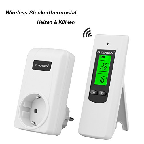 FLOUREON Thermostat Wireless Steckerthermostat RF Stecker Heizkörperthermostat Heizen Kühlen Temperatur Regler Controller