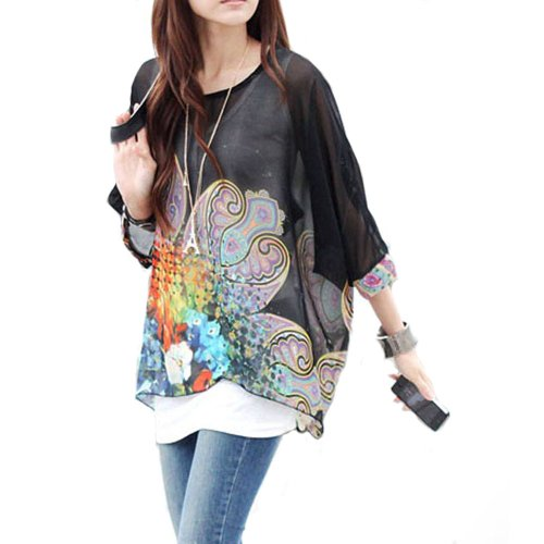 oho Hippie Damen Chiffon Schulterfrei Batwing Bluse Shirt Top (L, Schwarz) ()
