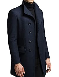 YOUTHUP Mens Wool Blend Winter Jacket Slim Fit Thick and Warm Overcoat