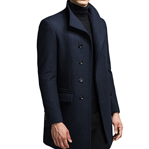 Homme Hiver Manteau Trench-Coat Chaud Slim fit Casual Veste Long en Laine Caban Mode Classique No