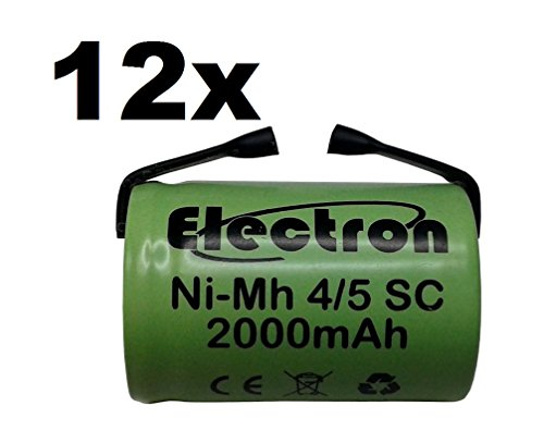 12 X Batteria ricaricabile NiMh 4/5 SC 1,2V 2000mAh 22x33mm subC a saldare linguette per pacchi batteria