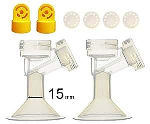 Une unité de téterelle avec vanne et membrane pour les tire-lait Medela ; Fabriqué par Maymom (Coppa per il seno 15mm(diamètre de mamelons 15mm))