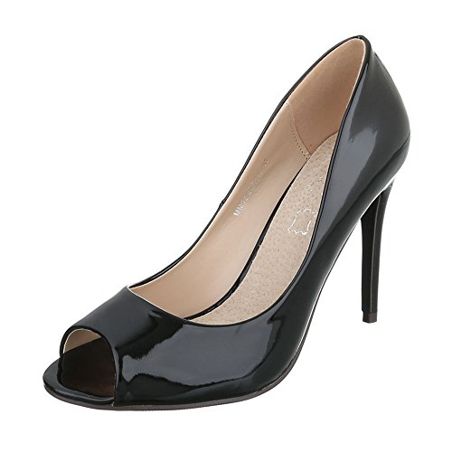 Ital-Design Peep Toe Damen-Schuhe Peep-Toe Pfennig-/Stilettoabsatz High Heels Pumps Schwarz, Gr 38, Mm02-