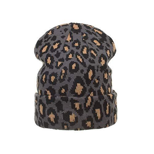 GFLD Strickmützen Wollmütze Herbst Winter Lady lässig Leopard Print einstellbare gestrickte Mütze im freien Skimütze (Leopard Print Beanie)