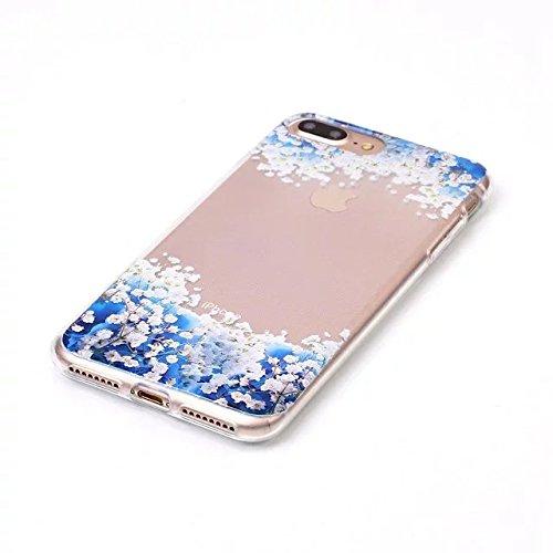Etsue iPhone 7 Plus Cover Tpu,iPhone 7 Plus Custodia Trasparente,Morbido Soft Gel Cover Bella/Creativo/Fresco Modello in Silicone Gomma Antigraffio Protettivo Case Cover Per iPhone 7 Plus+Blu Pennino  Fiore