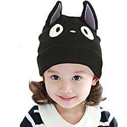 Myosotis510 Beanie mujeres de las muchachas Sombrero lindo hecho punto del casquillo del o¨ªdo del gato del padre-ni?o
