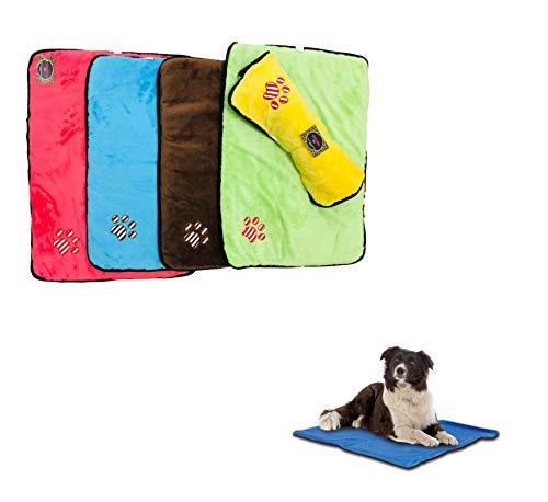 Ducomi paco tappetino cane 70 x 50 cm - cuccia in morbido pile e caldo rivestimento e base antiscivolo - materassino per cani di piccola e media taglia da interno (yellow)
