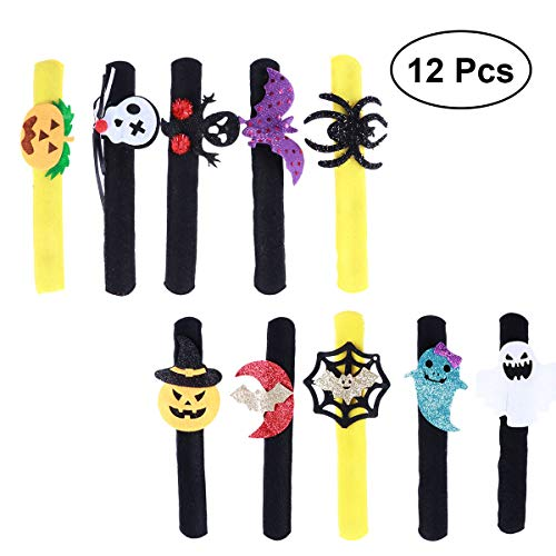 NUOBESTY 12ST Halloween Slap Armband Kürbis Slap Armband Skelett Slap Armband Ghost Slap Armband Spider Slap Armband Halloween Party Favors