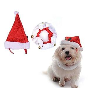 Kungfu Mall Costume de Noël pour Chien avec Chapeau de Père Noël et Collier Clochette