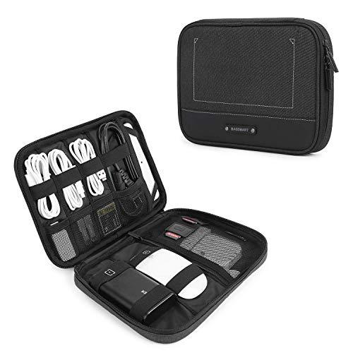 BAGSMART Elektronik Organizer Elektronische Tasche Reise für 7,9-Zoll Tablet, iPad Mini, Kabel, Ladegeräte, USB Sticks, SD-Karten, Schwarz (Kindle Flash-ladegerät)