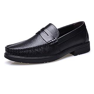 Jingkeke Klassische Herren Driving Loafers Echtes Leder Slip-on Flache Weiche Sohle Gefüttert Freizeit Kleid Schuhe auffällig (Color : Schwarz, Größe : 39 EU)