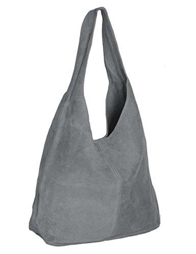 Ledertasche grau Lederhandtasche Tasche Shopper Wildleder Handtaschen Schultertaschen Beuteltasche Leder DIN-A4 20-gry (Leder Tasche Grau)
