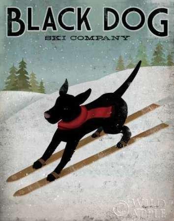 Feelingathome- imprimer-sur-toile-100%coton-Black-Dog-Ski-cm94x74-affiche-reproduction-gravure-