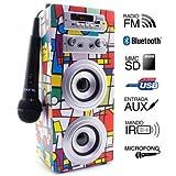Biwond - Altoparlante Joybox con lettore audio, microfono per Karaoke e Bluetooth, modello Picasso