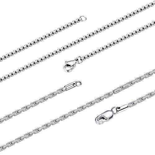 Verstärkte Haut-verschlüsse (Yadoca 2 Stück 2MM Edelstahl Halskette für Männer Frauen Quadratische Rolo-Kette Italien Dünne Gliederkette Halskette 41-76CM)