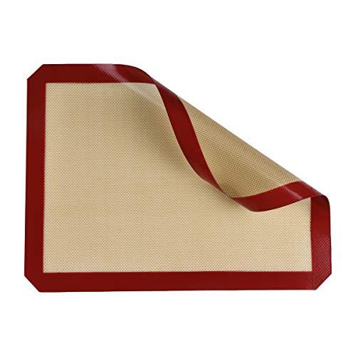 Belmalia Tappetino da Forno in Silicone per teglia da Forno Carta da Forno vetroresina 40x30cm Marrone Rosso
