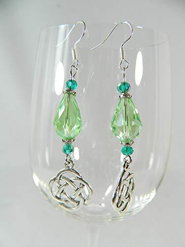 Ohrringe Keltischer Knoten grün Irland Gothic Modeschmuck Barock Rokoko ()