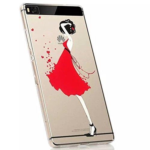 Vandot 1X Transparente Claro Lustroso Funda Carcasa Gel TPU para Huawei P8 Lite 5 pulgadas Protective funda fácilmente Slim delgado llano case cover Print Sexy Girl Women Red Heart Amor corazón rojo de tacón alto