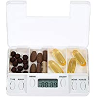 Xinxun Automatische Pillendose Tablettenbox, Portable 4 Grid Pill Veranstalter Tablet Fall Box mit Alarmuhr preisvergleich bei billige-tabletten.eu