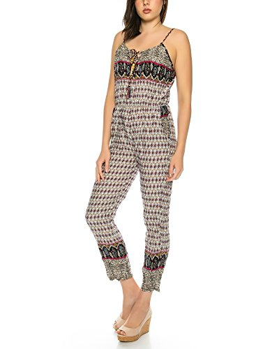 Dress Sheek Damen Overall Jumpsuit Gemustert mit Träger R91-Lila