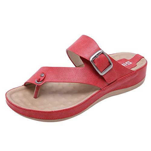 Yvelands Damen Strandschuhe Sandalen Clip Toe Komfortable Flip Flop Metall Gürtelschnalle Sommer Strand HausschuheCN-39Rot