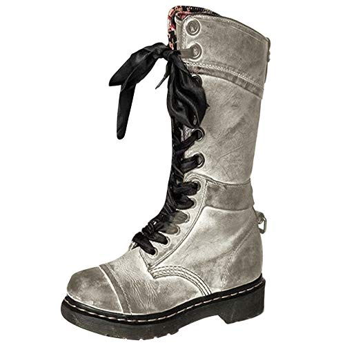 BURFLY Classic Retro Boots for Women Ladies, Mid-Calf Brogue Biker Boots, Vintage Rivets Leather Round Toe Lace-Up Riding Boots