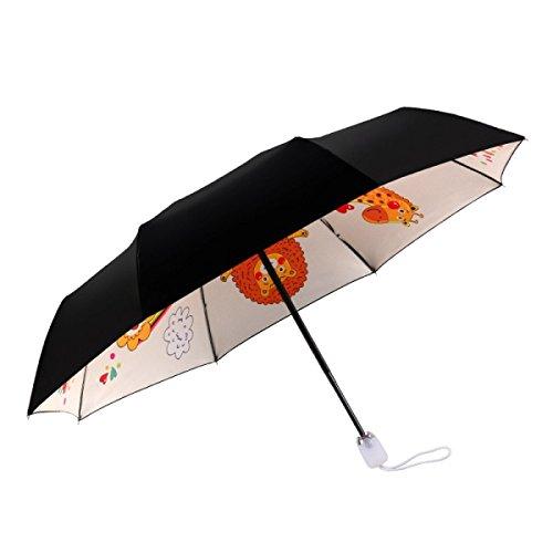THUNFER Regenschirm Sonnenschirme Automatischer Taschenschirm Ms. 8 Bone UV Sunscreen Portable,White