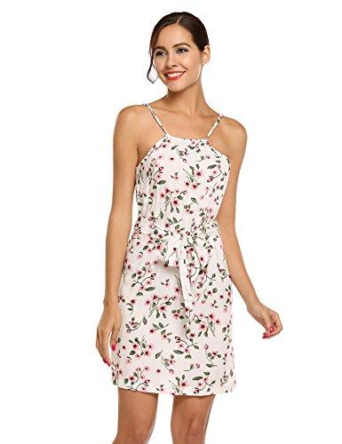 ACEVOG Damen Strandkleider Baumwolle Sommer Vertellbarer Spaghettiträger Kleid Blumen Ärmellose Mini Kleider mit Abziehbarem Gürtel Weiß
