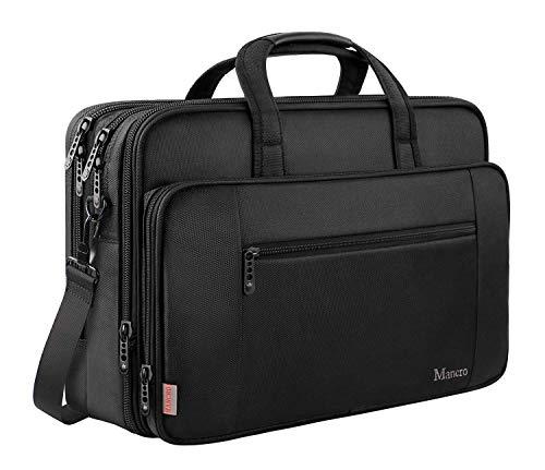 Mancro Laptop Tasche 15,6 Zoll, Business Aktentasche große Umhängetasche Wasser Resisatant Multi-funktionale Erweiterbare Computer Schultertaschen MEHRWEG -