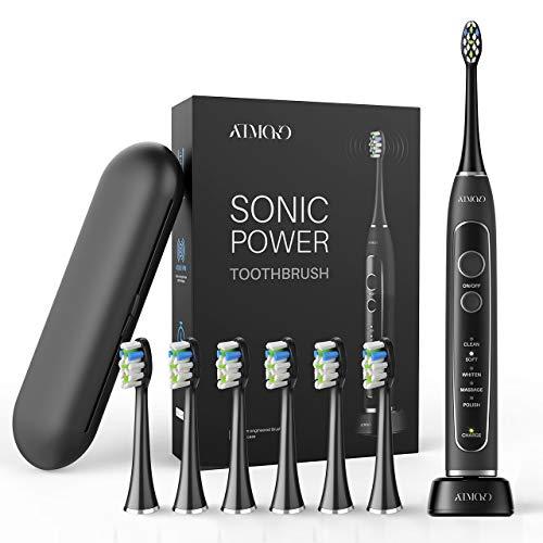 ATMOKO Elektrische Zahnbürste Ultraschall Schallzahnbürste 6 Farbwechselnde Bürstenköpfe 5 Modi 2 Minuten Smart Timer 21 Tage Laufzeit für Tiefe Zahnreinigung