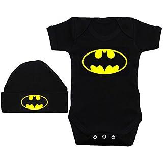 Acce Products Bat Baby Grow/Bodysuit/Romper/T-Shirt & Beanie Hat/Cap - 0-3 Months - Black
