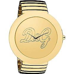 Dolce & Gabbana D&G - Reloj analógico de cuarzo para mujer con correa de acero inoxidable, color dorado
