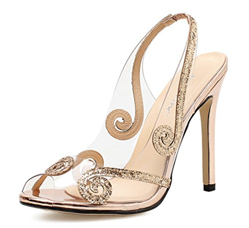 SHOWHOW Damen Elegant Paillette Peep Toe Hochzeit Stiletto Slingback Champagner 35 EU