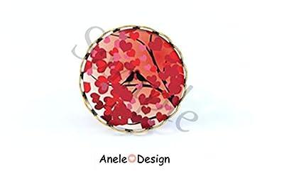 Bague arbre magique coeurs love rouge blanc oiseaux, bijoux fleurs, Bijoux style boheme, motif floral, bijoux été, bijoux vintage, bague fleur, bague rétro, bague rouge