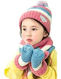 Boomly Bébé Enfant Chapeau à tricoter + Écharpe à boucle + Gants complets  Hiver Chaud Plus velours Bonnet pompon… 429a5f928f3
