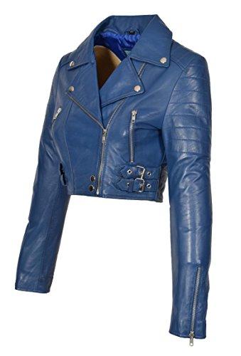 (A1 FASHION GOODS Blau Echtes Leder Damen Bikerjacke Kurz Beschnitten Ausgestattet Sexy Bolero Bustier Mantel - Amanda (XS - EU 34))